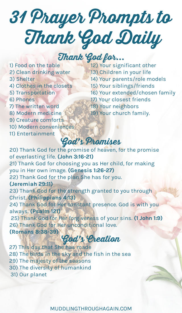 Flowers and cereal with a detailed text overlay listing out 31 prayer prompts to thank God Daily