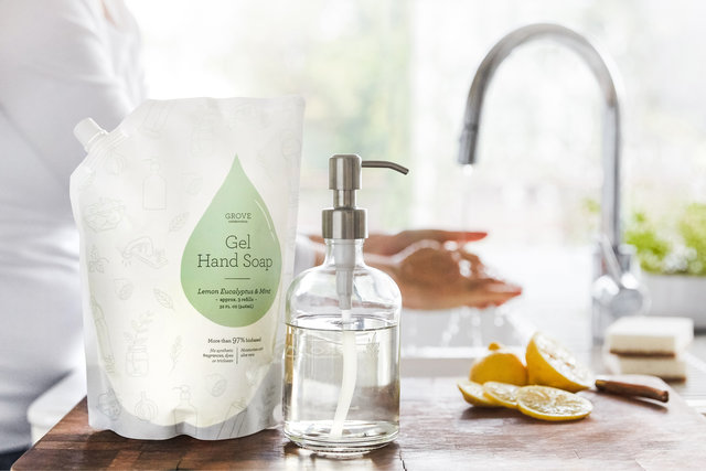 Kitchen sink, hand soap refill, hand soap dispenser.