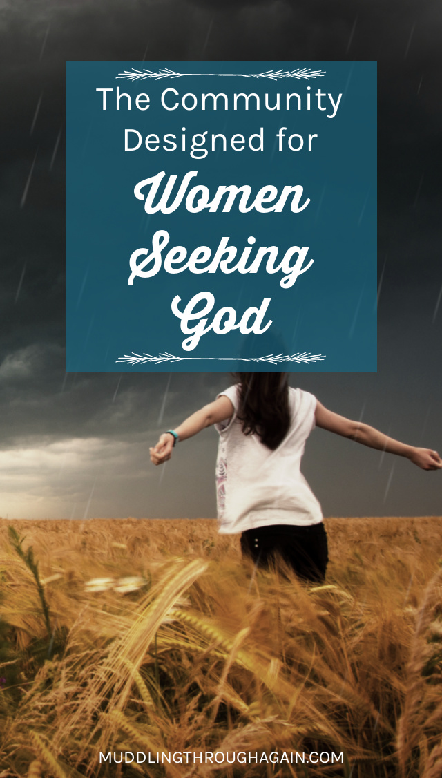 "Woman standing in a field during a thunderstorm. Text overlay reads: ""The Community Designed for Women Seeking God"""