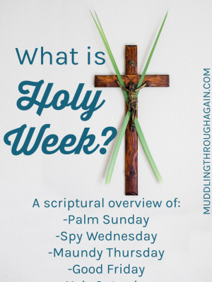 Image of crucifix adorned with palm leaves. Text overlay reads: What is Holy Week? A scriptural overview of: Palm Sunday, Spy Wednesday, Maundy Thursday, Good Friday, Holy Saturday