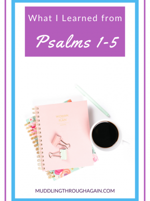 """Image of notebooks and coffee cup. Text overlay reads: """"What I Learned from Psalms 1-5"""""""